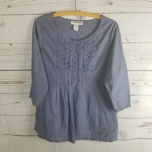 ⚡Cathy Daniels Chambray Popover Blouse Lace Boho